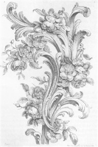 rococo decorative designs (by peyrotte) [med: on laid] by jaques gabriel huquier